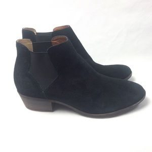 Lucky brand black suede ankle boots size 8.5